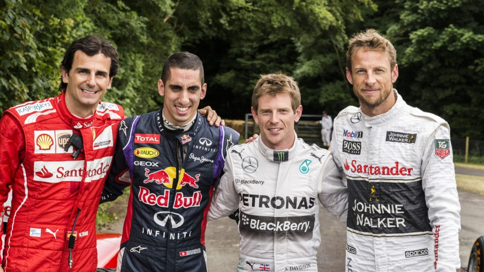 Pedro de la Rosa, Sebastien Buemi, Anthony Davidson, Jenson Button, Goodwood Festival of Speed, 2014