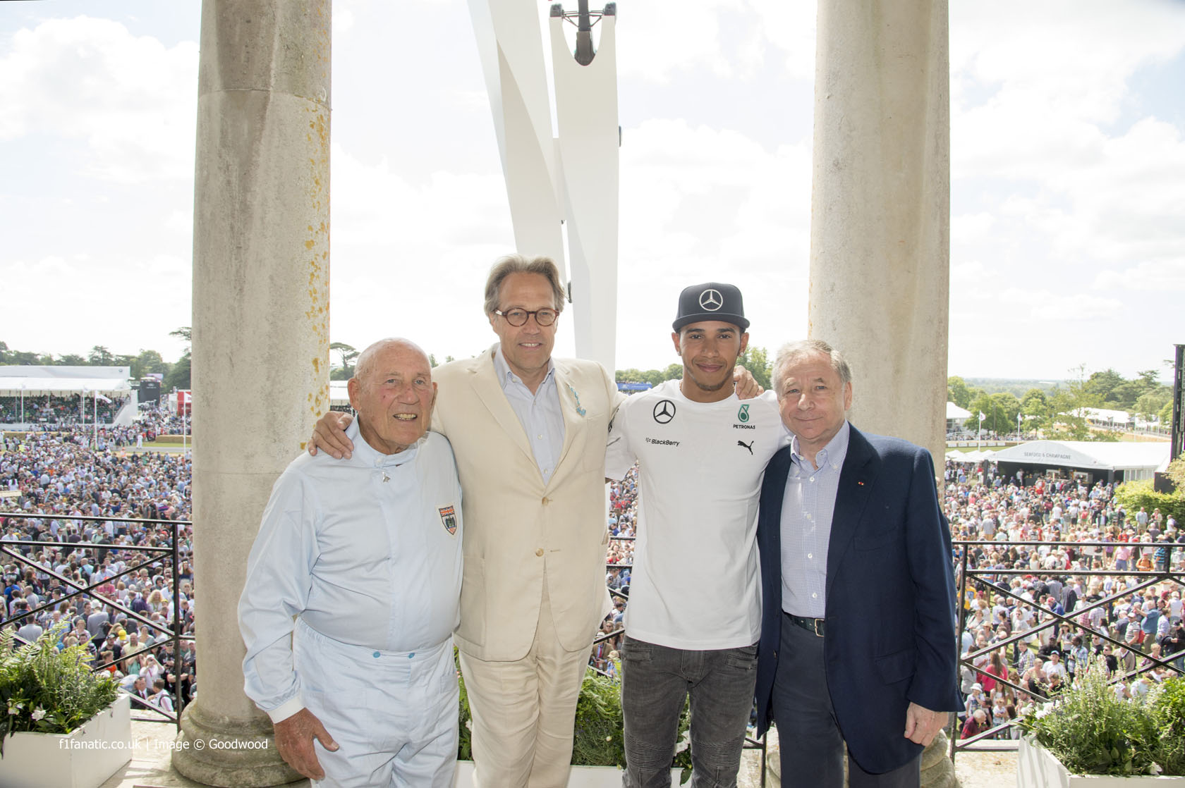 Stirling Moss, Lord March, Lewis Hamilton, Jean Todt, Goodwood Festival of Speed, 2014