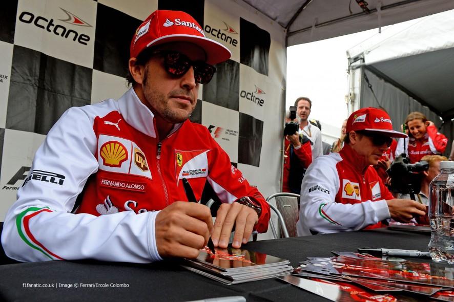 Fernando Alonso, Kimi Raikkonen, Ferrari, Circuit Gilles Villeneuve, 2014