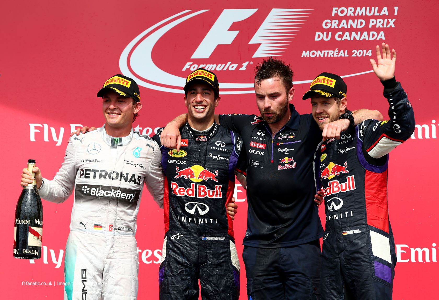 Nico Rosberg, Daniel Ricciardo, Sebastian Vettel, Red Bull, Circuit Gilles Villeneuve, 2014