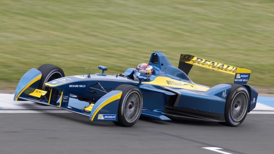 Sebastien Buemi, e.dams, Formula E test, Donington Park, 2014