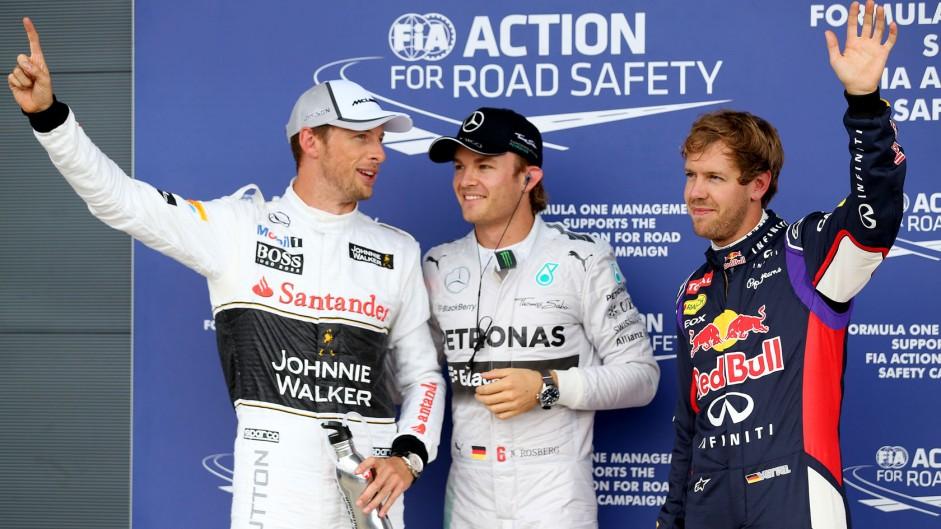 Jenson Button, Nico Rosberg, Sebastian Vettel, Silverstone, 2014