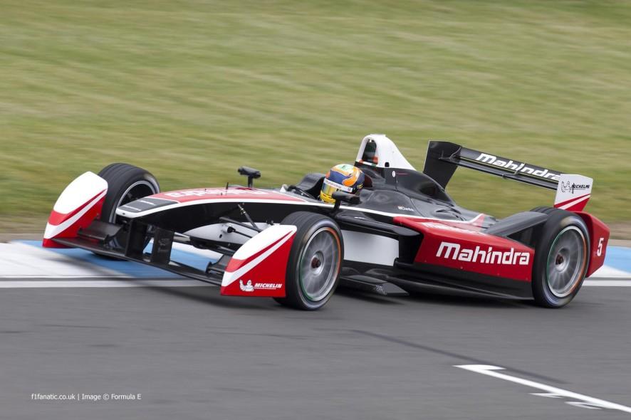 Karun Chandhok, Mahindra, Formula E test, Donington Park, 2014