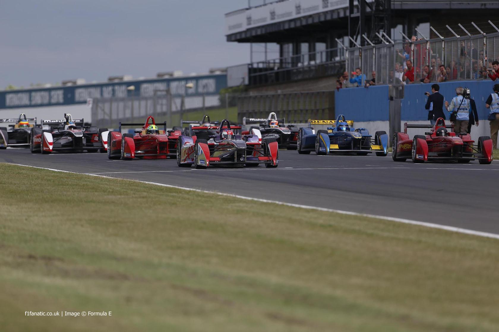 Formula E cars, Donington Park, 2014