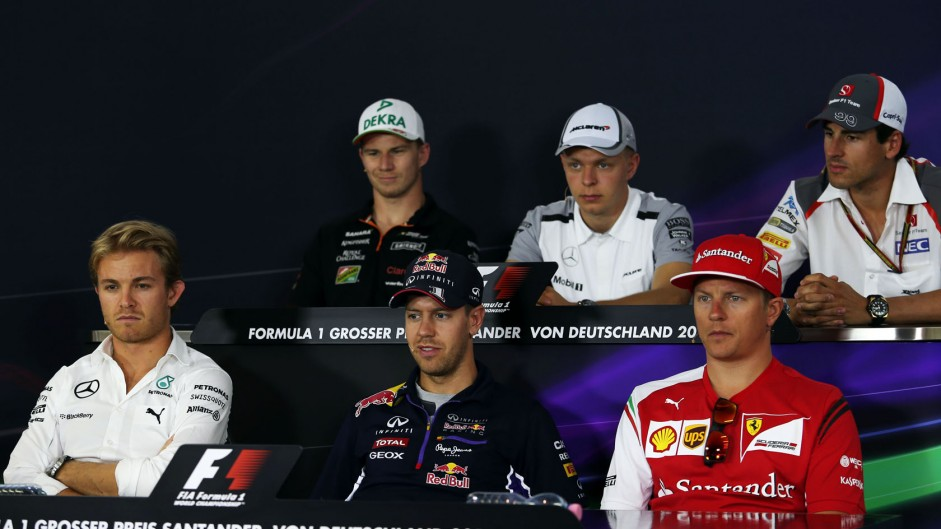 Nico Hulkenberg, Kevin Magnussen, Adrian Sutil, Nico Rosberg, Sebastian Vettel, Kimi Raikkonen, Hockenheimring, 2014