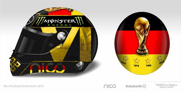 Nico Rosberg's original 2014 German Grand Prix World Cup helmet