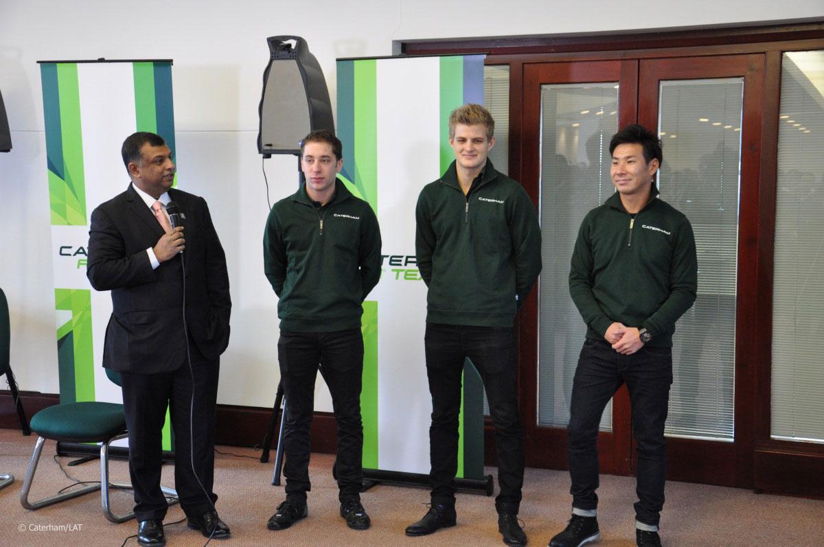 Tony Fernandes, Robin Frijns, Marcus Ericsson, Kamui Kobayashi, Caterham, 2014