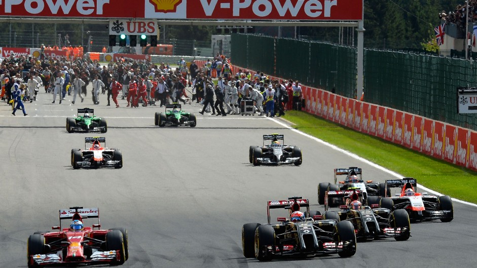 Formation lap, Spa-Francorchamps, 2014