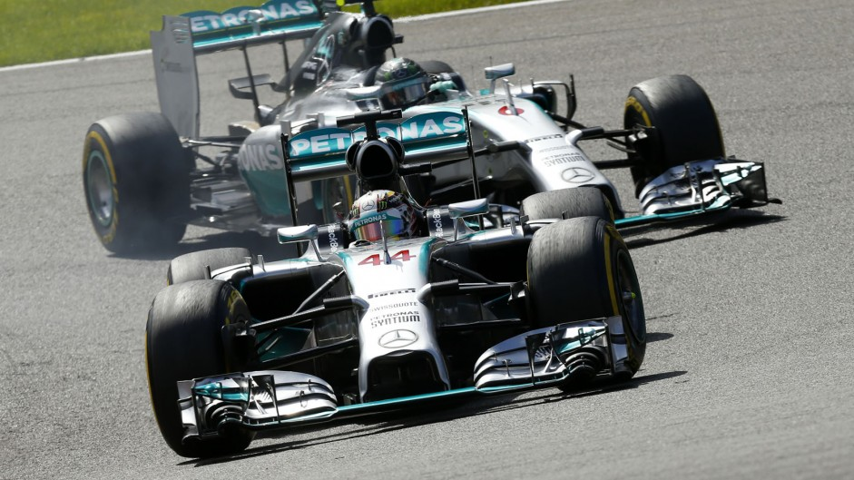 F1 wins as Mercedes lets Hamilton and Rosberg fight