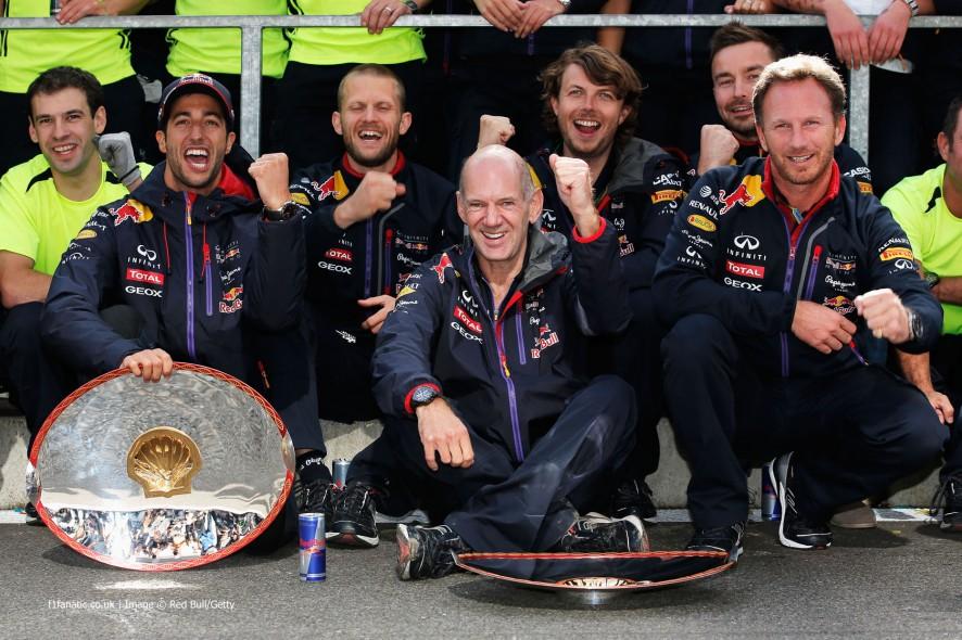 Daniel Ricciardo, Adrian ewey, Christian HornerRed Bull, Spa-Francorchamps, 2014