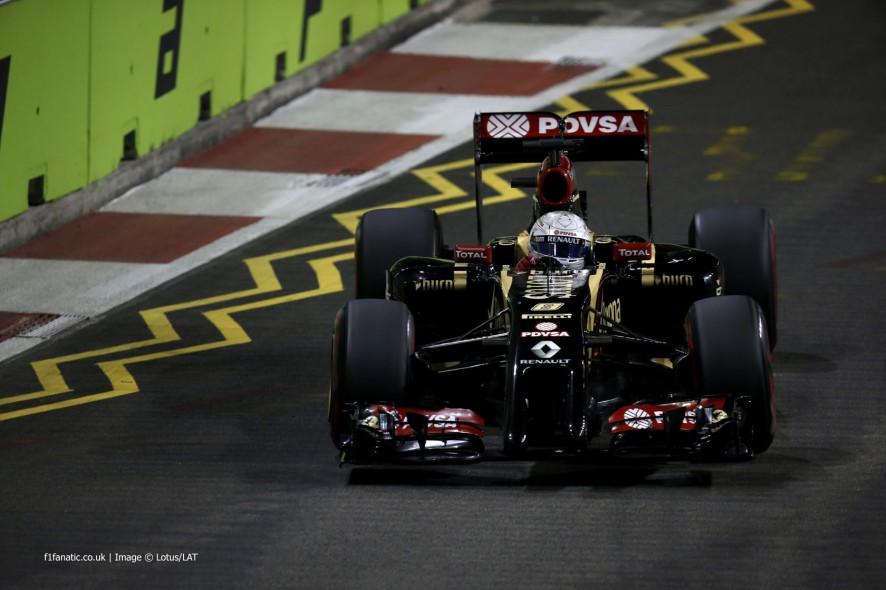 Romain Grosjean, Lotus, Singapore, 2014