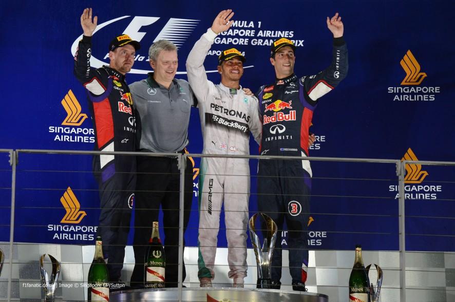 Sebastian Vettel, Lewis Hamilton, Daniel Ricciardo, Singapore, 2014