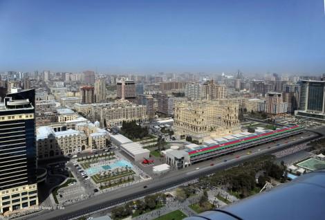 Pits and paddock, Baku street circuit rendering, Azerbaijan