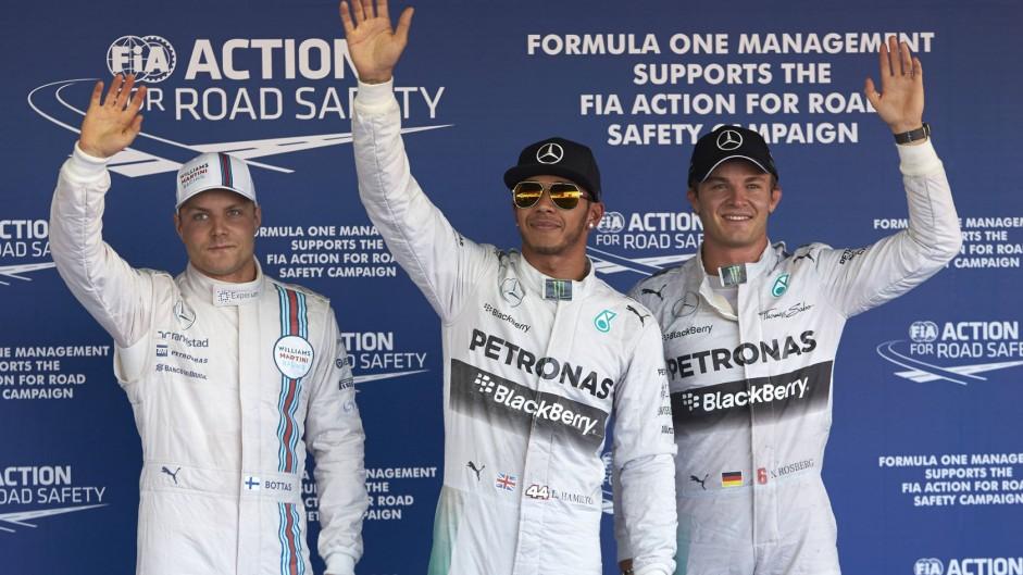 Hamilton on pole as flying Bottas slips up