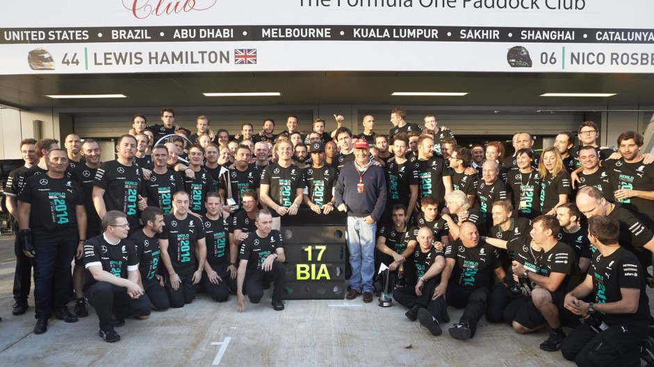 Paddy Lowe, Nico Rosberg, Lewis Hamilton, Toto Wolff, Niki Lauda with Jules Bianchi's number, Mercedes, 2014