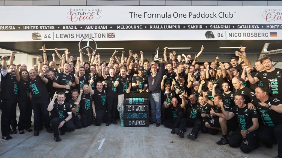 Paddy Lowe, Nico Rosberg, Lewis Hamilton, Toto Wolff, Niki Lauda, Mercedes, 2014