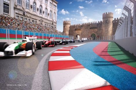 Turn 12, Baku street circuit rendering, Azerbaijan