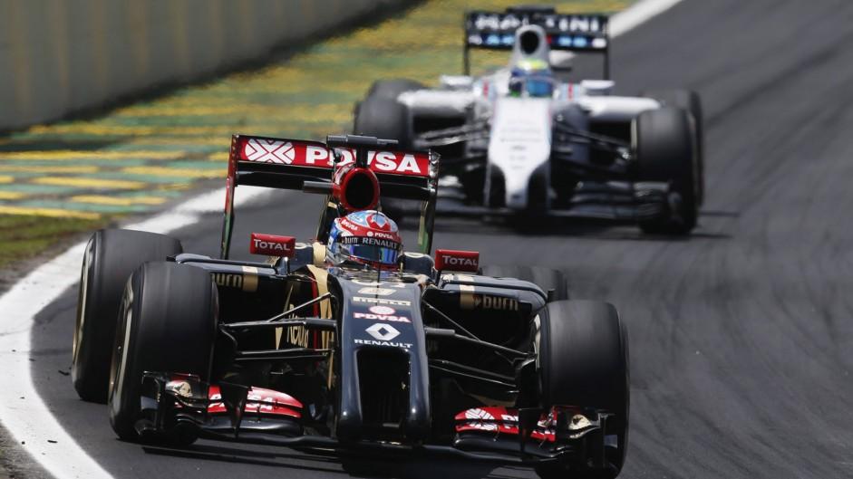 Interlagos, Sao Paulo, Brazil.Sunday 9 November 2014.Romain Grosjean, Lotus E22 Renault.World Copyright: Glenn Dunbar/Lotus F1.ref: Digital Image _W2Q2467