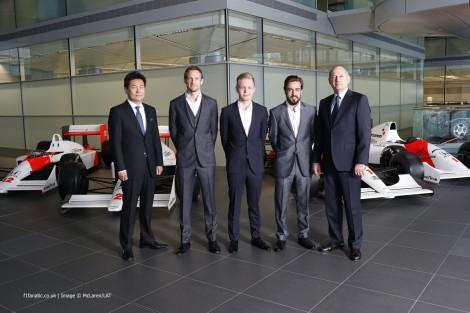 Yasuhira Arai, Jenson Button, Kevin Magnussen, Fernando Alonso, Ron Dennis, McLaren, 2014
