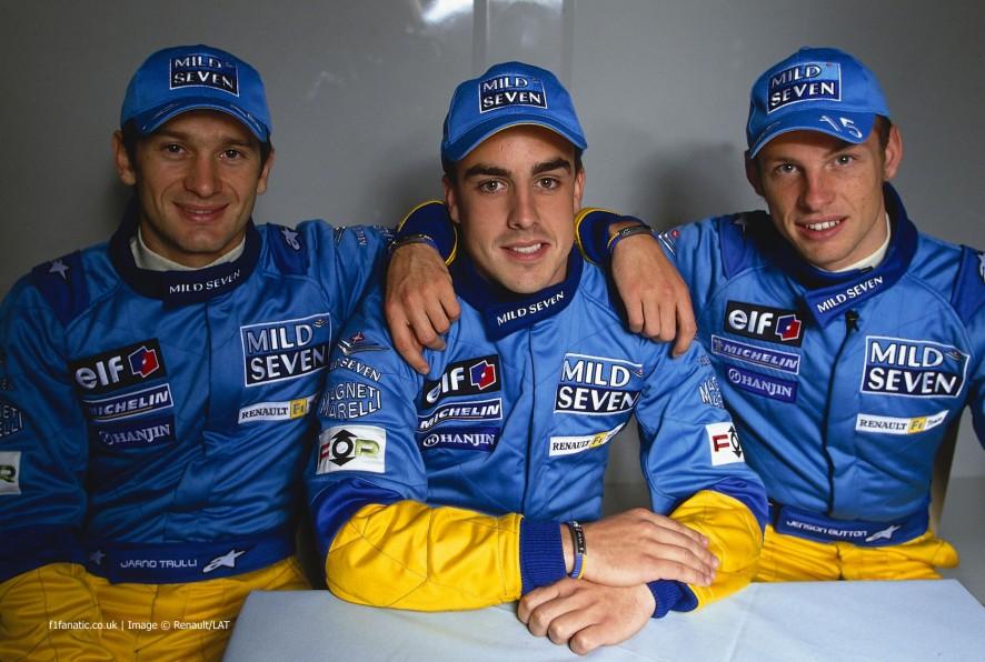Jarno Trulli, Fernando Alonso, Jenson Button, 2002