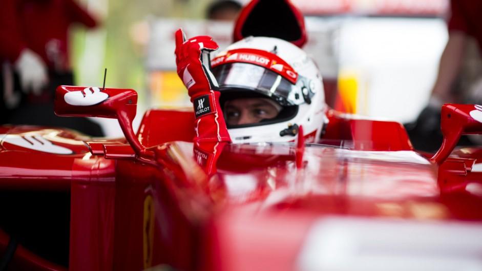 Vettel first to drive Ferrari's new SF15-T