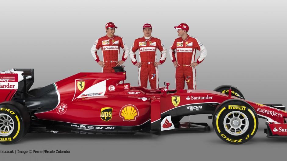 Kimi Raikkonen, Sebastian Vettel, Esteban Gutierrez, Ferrari SF-15T, 2015