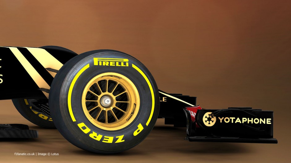 Lotus E23 front wing endplate rendering, 2015
