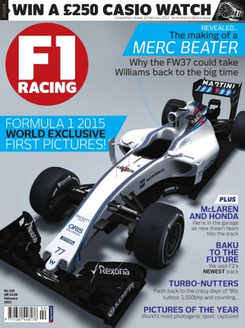 Williams FW37 F1 Racing magazine cover, 2015