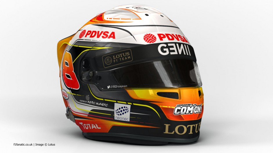 Romain Grosjean, Lotus, 2015 F1 helmet