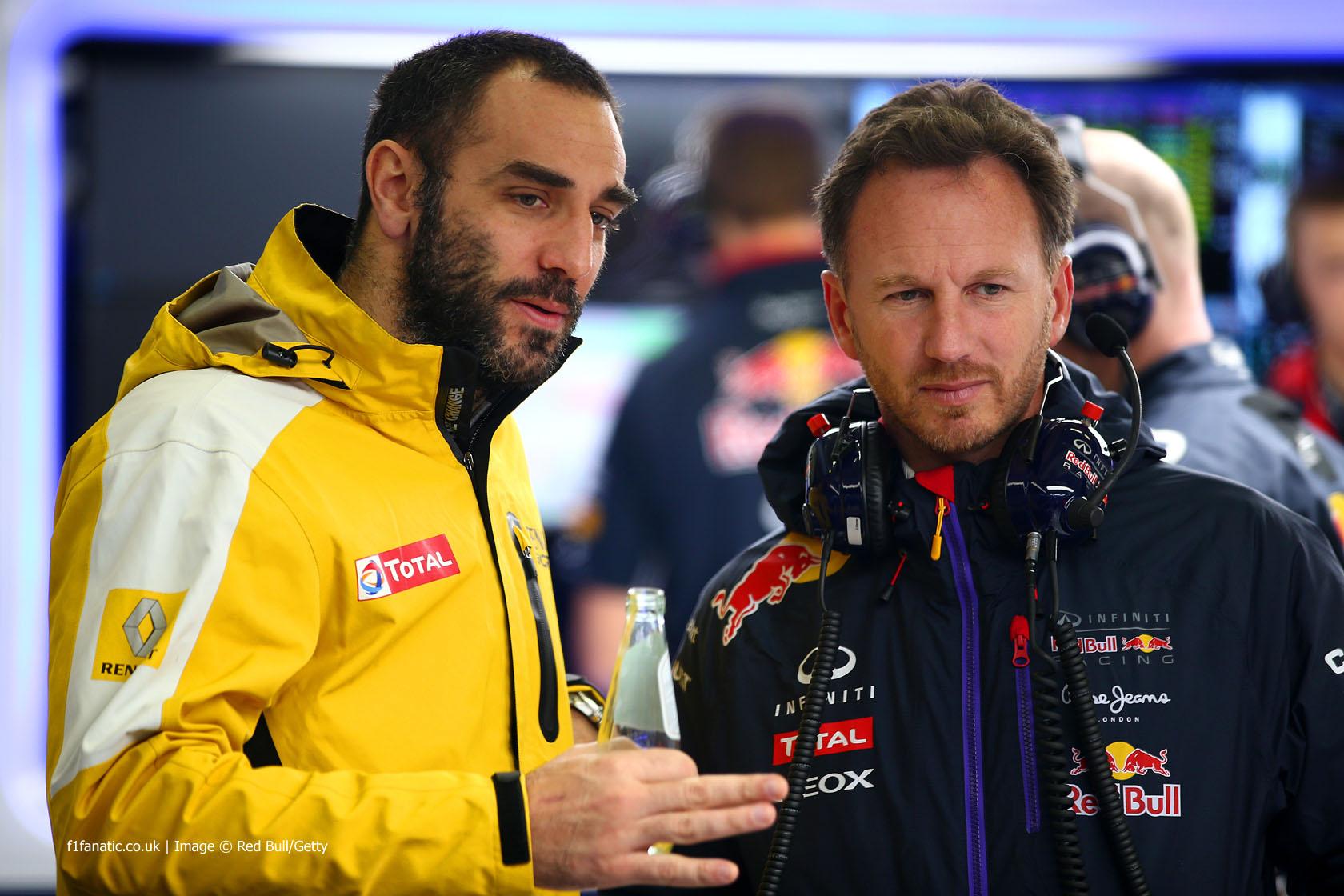 Cyril Abiteboul, Christian Horner, Jerez, 2015