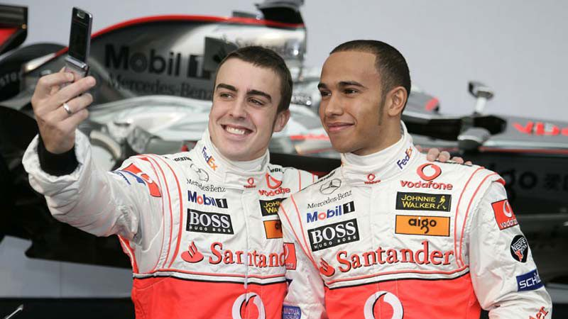 Fernando Alonso, Lewis Hamilton, McLaren launch, 2007