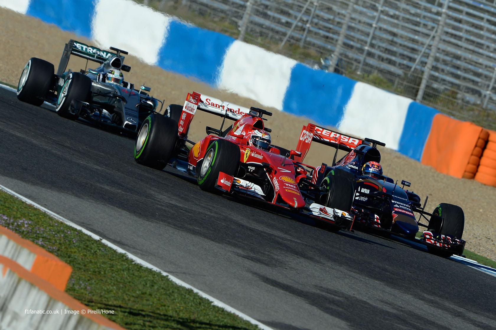 Kimi Raikkonen, Max Verstappen, Lewis Hamilton, Circuito de Jerez, 2015