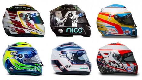 Six 2015 F1 drivers' helmets