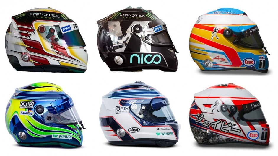 2015 F1 drivers helmets in pictures