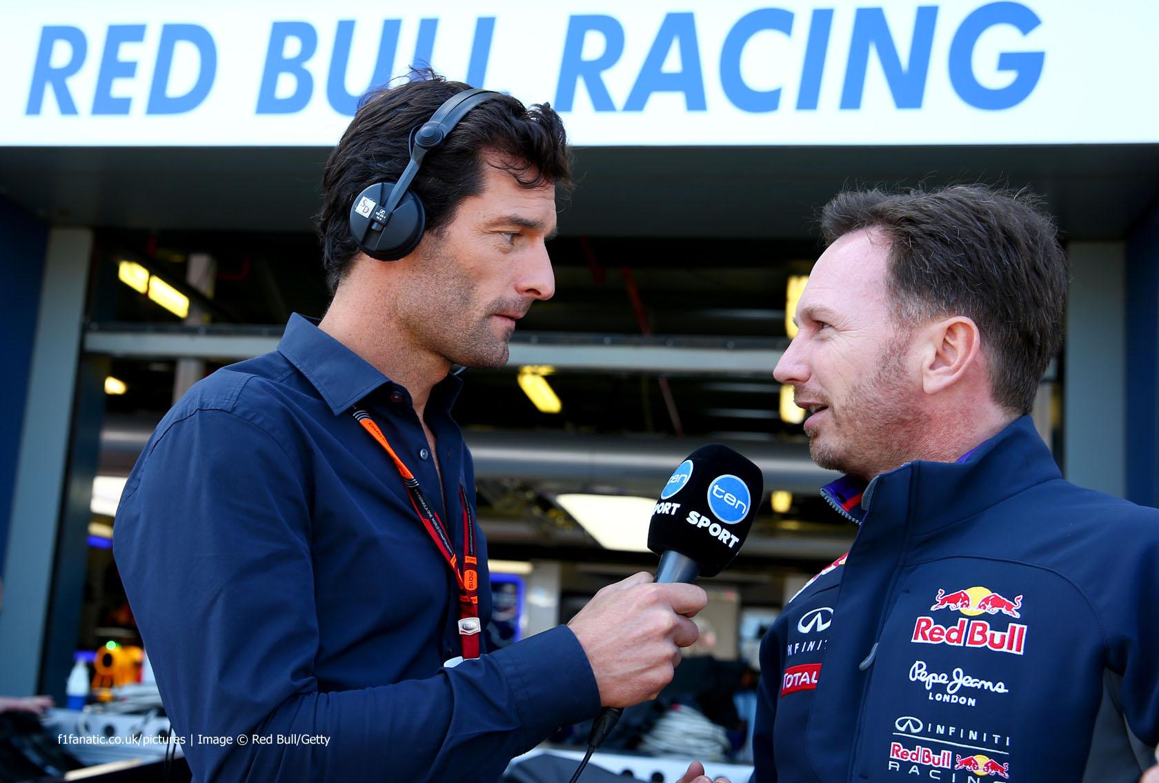 Mark Webber, Christian Horner, Melbourne, 2015