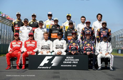 The F1 drivers of 2015 pictured at he first race of the season