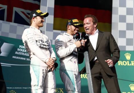Nico Rosberg, Lewis Hamilton, Arnold Schwazenegger, Albert Park, 2015
