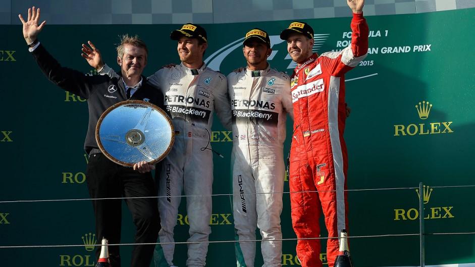 Nico Rosberg, Lewis Hamilton, Sebastian Vettel, Albert Park, 2015