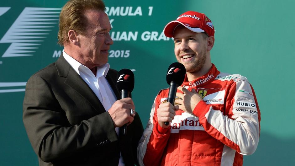 Arnold Schwazenegger, Sebastian Vettel, Albert Park, 2015