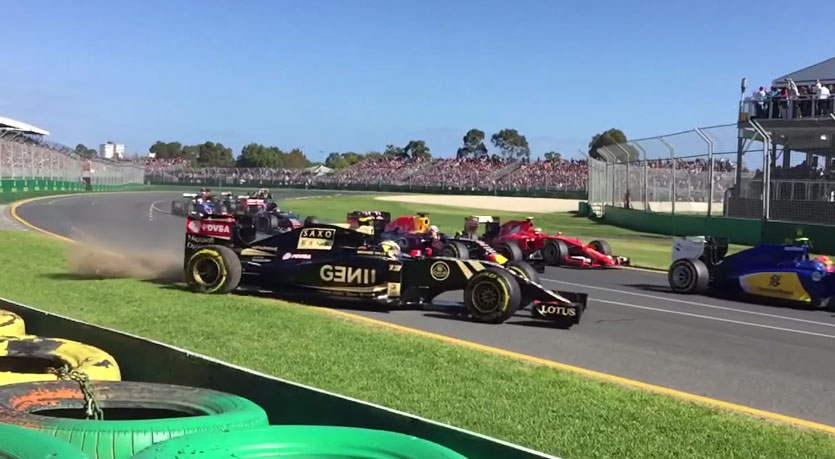 Slow motion video shows Maldonado's first-lap crash