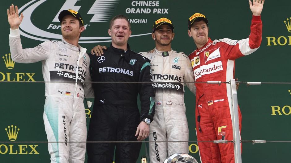 Hamilton, Rosberg, Vettel monopolise 2015 podiums