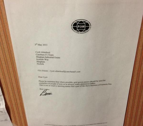 Bernie Ecclestone letter to Cyril Abiteboul, 3rd May 2013