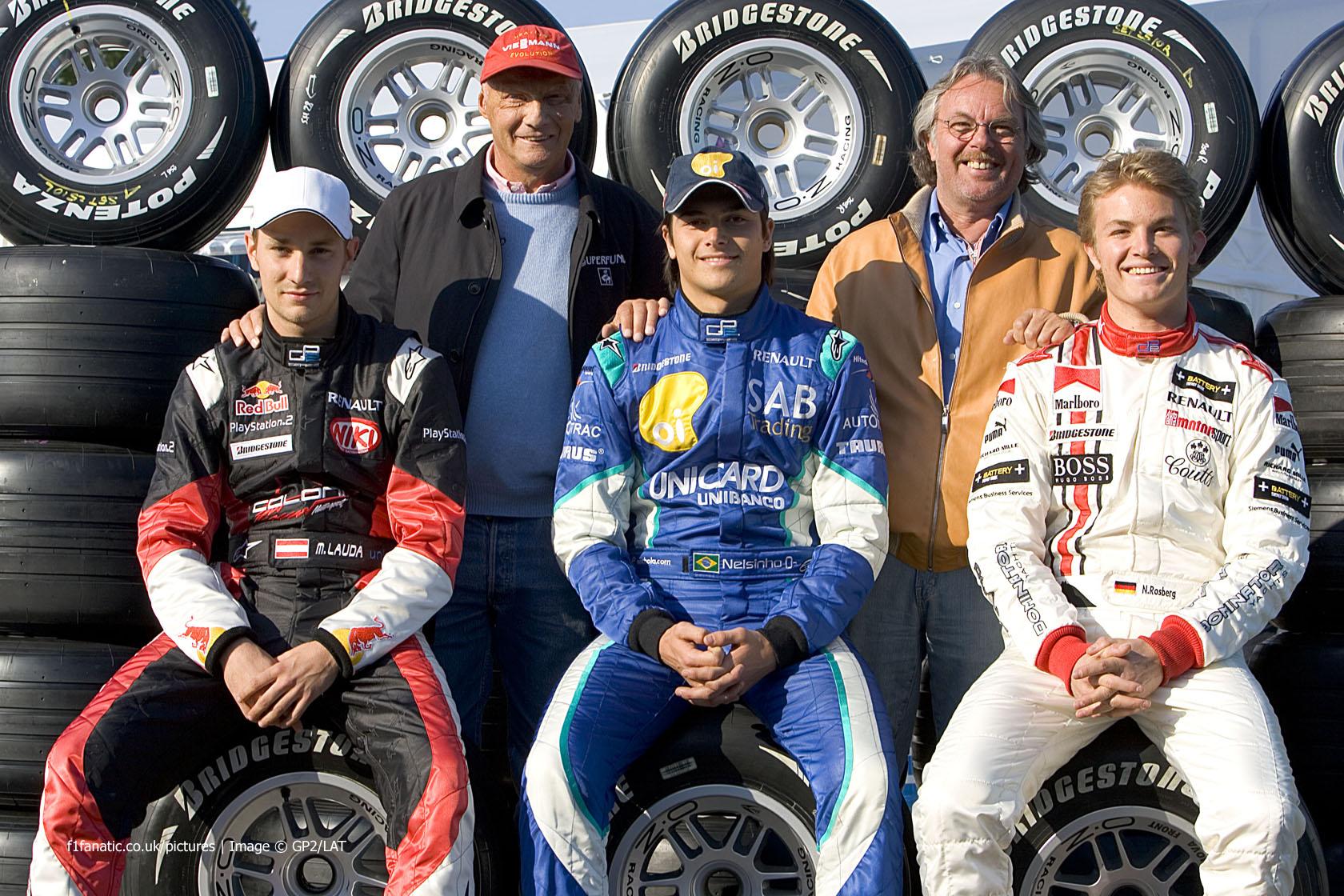 Mathias Lauda, Nelson Piquet Jnr, Nico Rosberg, GP2, Imola, 2005