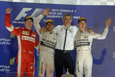 Kimi Raikkonen, Lewis Hamilton, Nico Rosberg, Bahrain International Circuit, 2015