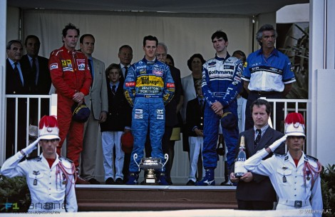 Gerhard Berger, Michael Schumacher, Damon Hill, Monte-Carlo, Monaco, 1995