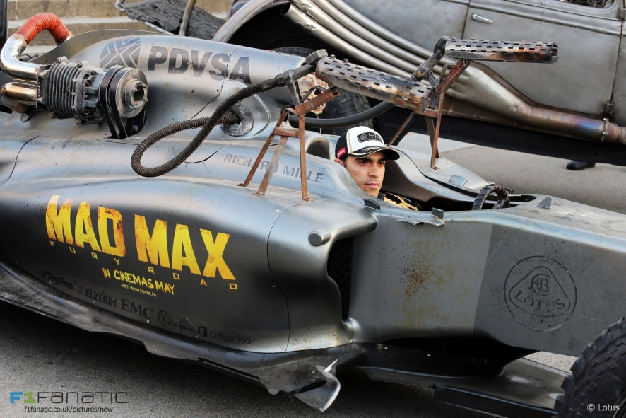 Pastor Maldonado, Lotus, Mad Max promotional shoot, 2015