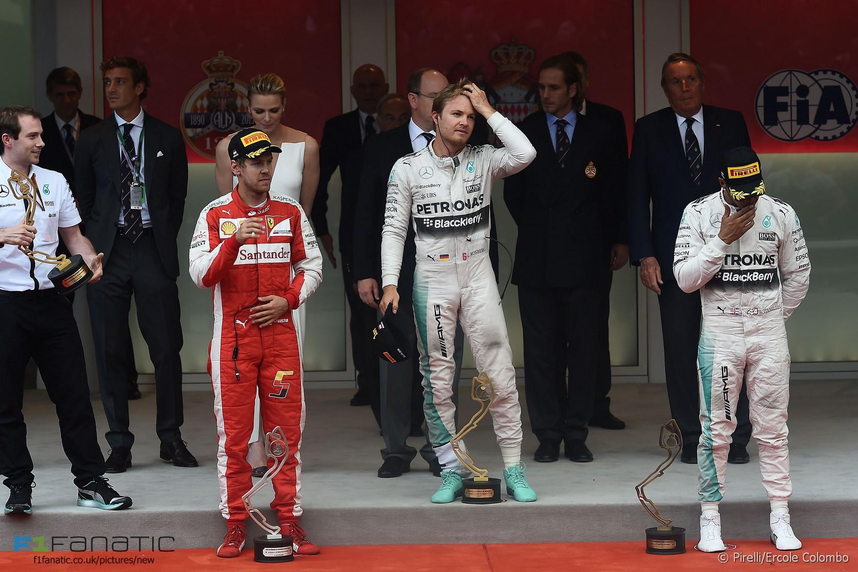 Sebastian Vettel, Nico Rosberg, Lewis Hamilton, Monte-Carlo, 2015