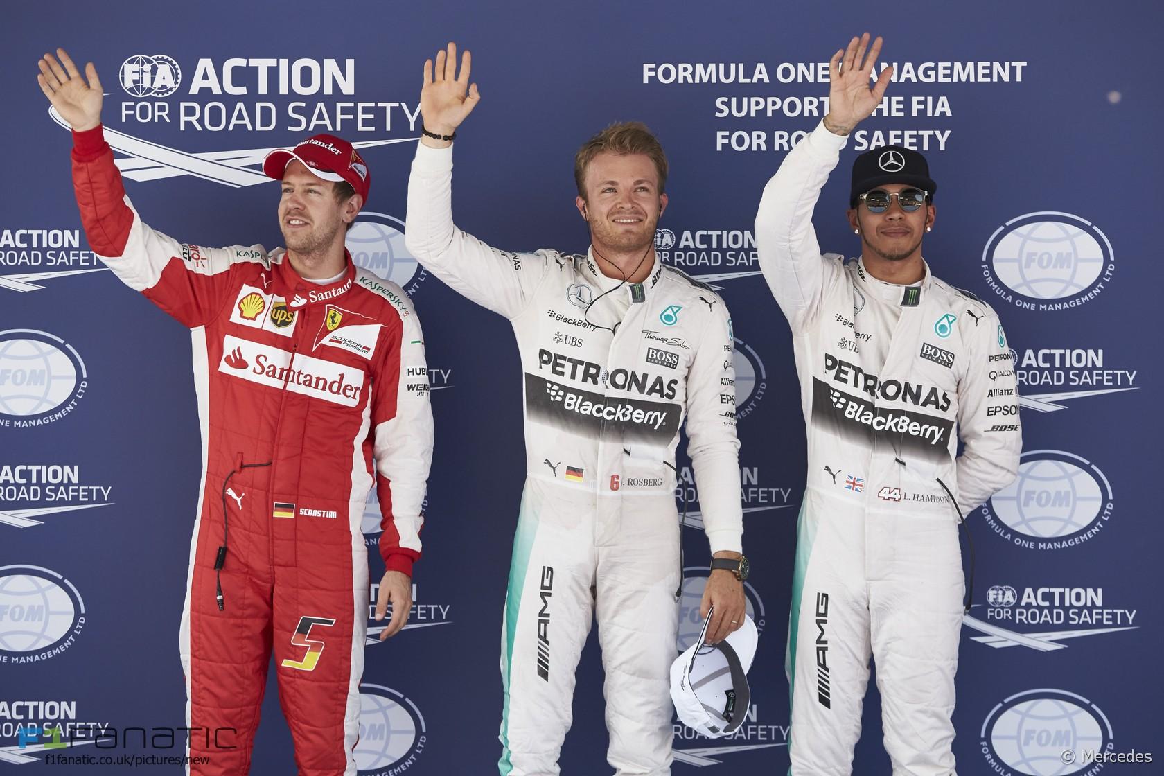 Sebastian Vettel, Nico Rosberg, Lewis Hamilton, Circuit de Catalunya, 2015