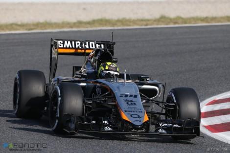Nick Yelloly, Force India, Circuit de Catalunya testing, 2015