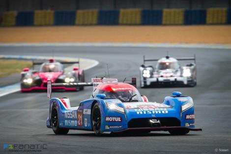 Nissan GT-R LM NISMO #21 Tusgio Matsuda/Mark Shulzhitskiy/Lucas Ordonez, Le Mans, 2015